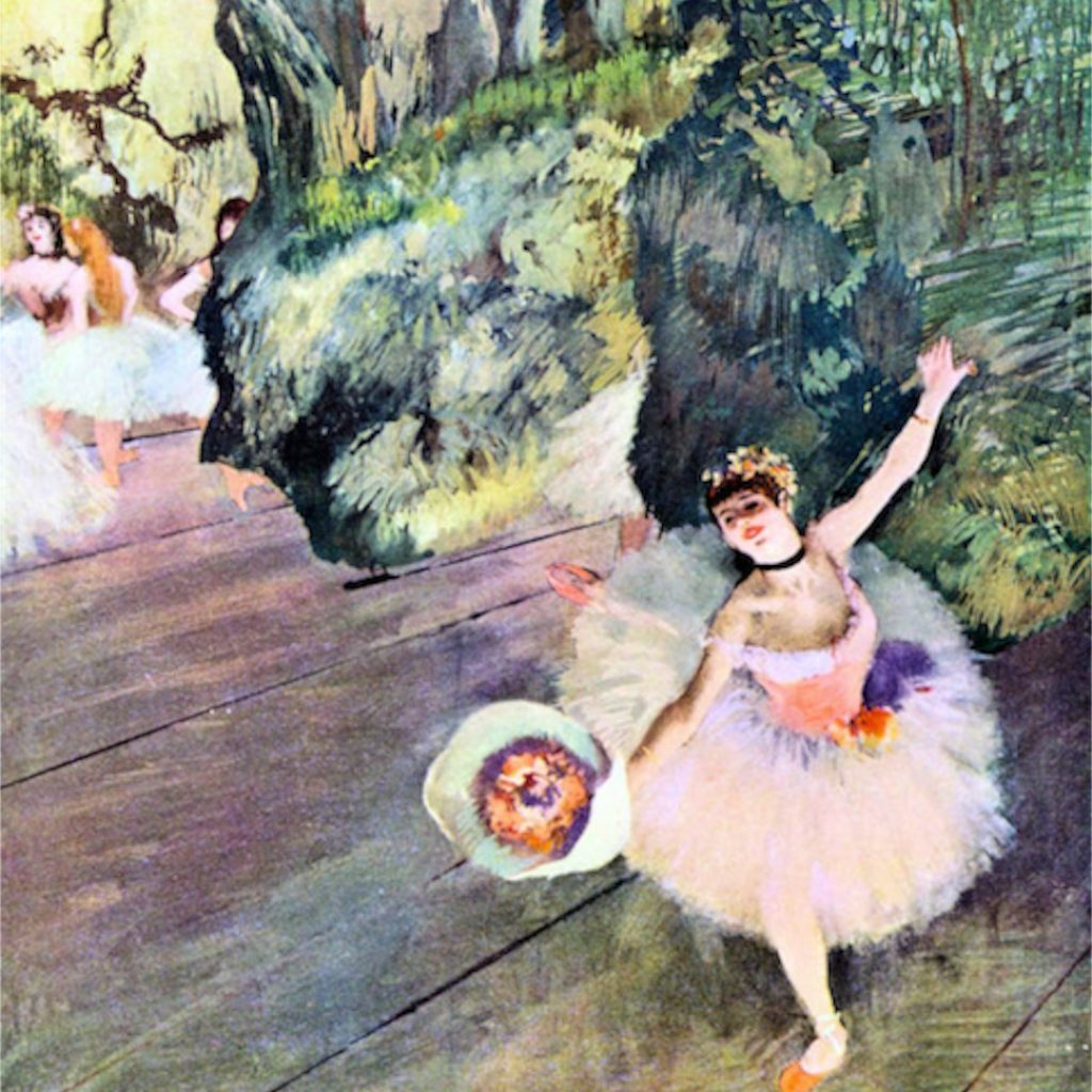 degas; dancer with a bouquet of flowers